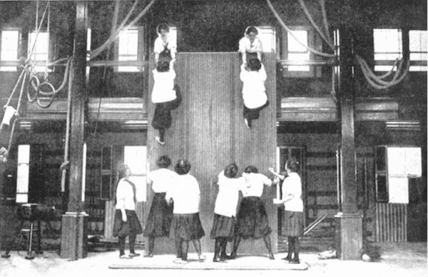 early 1900s women in gym gymnaisum climbing wall