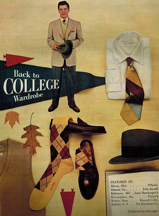 A poster of back to college wardrobe.