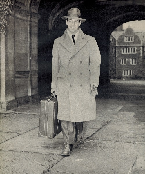vintage college student 1948 wearing polo overcoat