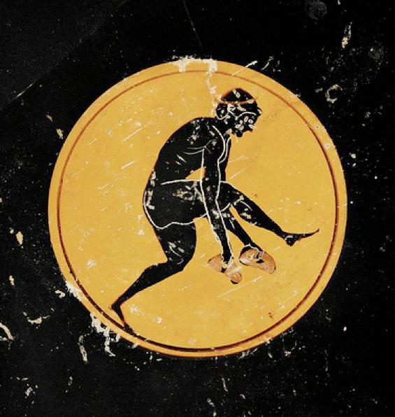 ancient greek artwork man throwing disc