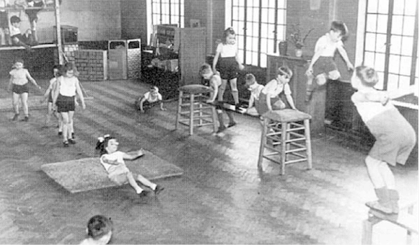 1950s first grade elementary phy ed gym class
