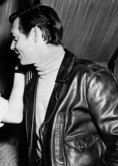 clark gable wearing leather jacket side profile