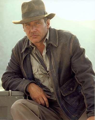 harrison ford indiana jones wearing leather jacket waxed hat