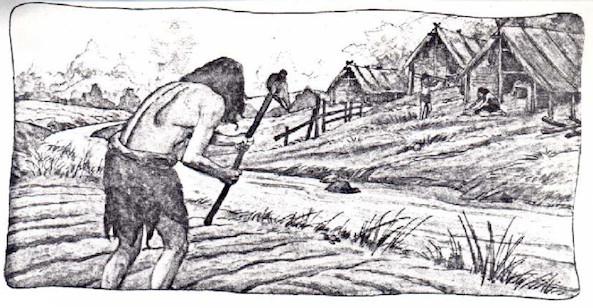 ancient man neolithic farmer illustration