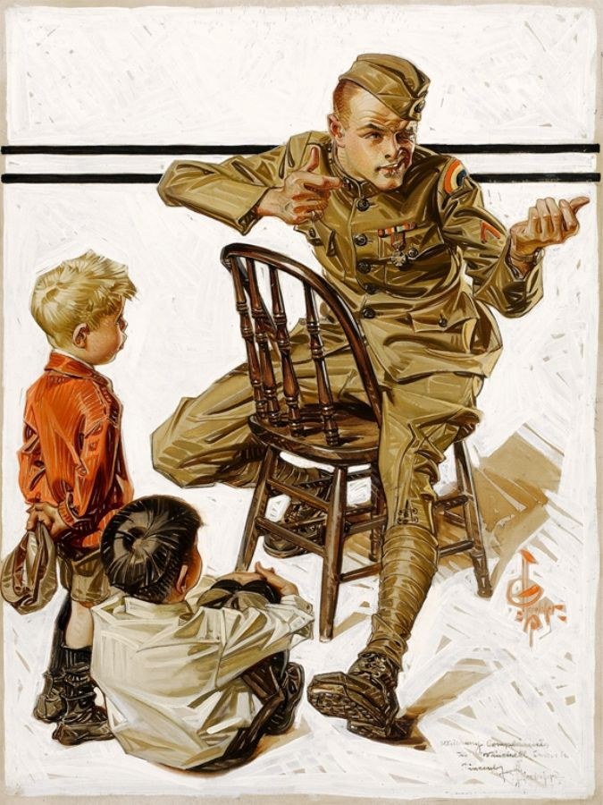 Vintage illustration soldier telling young boys war story.