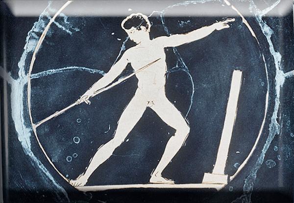 ancient greek artwork man throwing spear