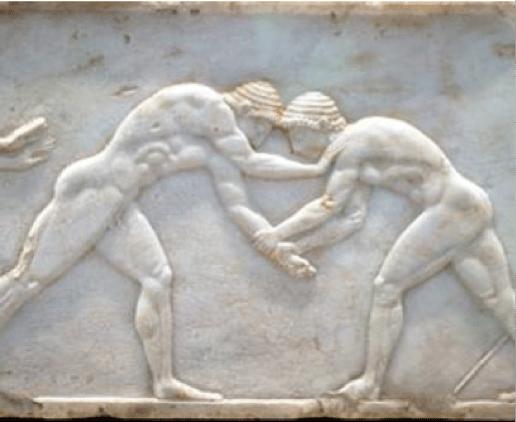 ancient greek marble engraving men wrestling grappling