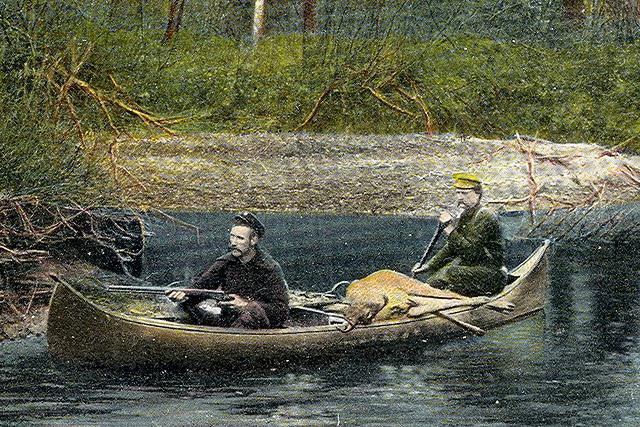 vintage illustration hunters in canoe deer in boat