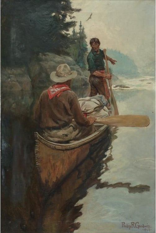 painting two men in canoe looking at rapids