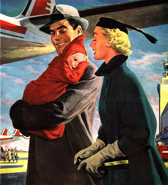 Vintage parents walking onto plane with baby in arms illustration.