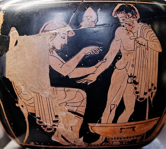 ancient greek artwork bloodletting man giving blood