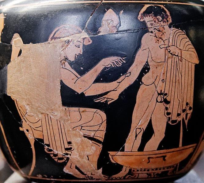ancient greek artwork bloodletting man giving blood