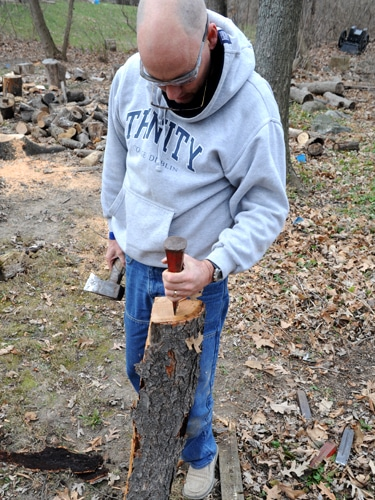diy ax handle splitting stave