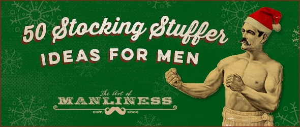 Christmas Gift Guide Header for men with green Background.