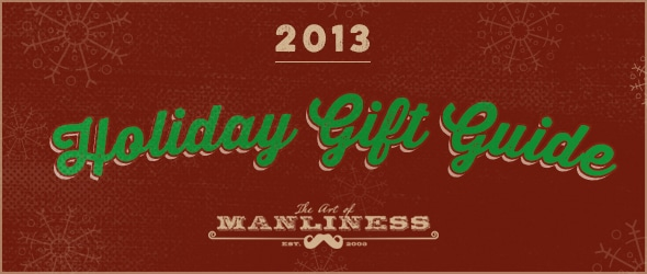 Holiday gift guide Header 2013 with Dark Red background.