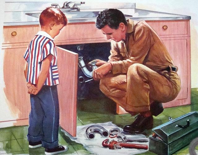 Vintage painting plumber fixing sink boy looking.