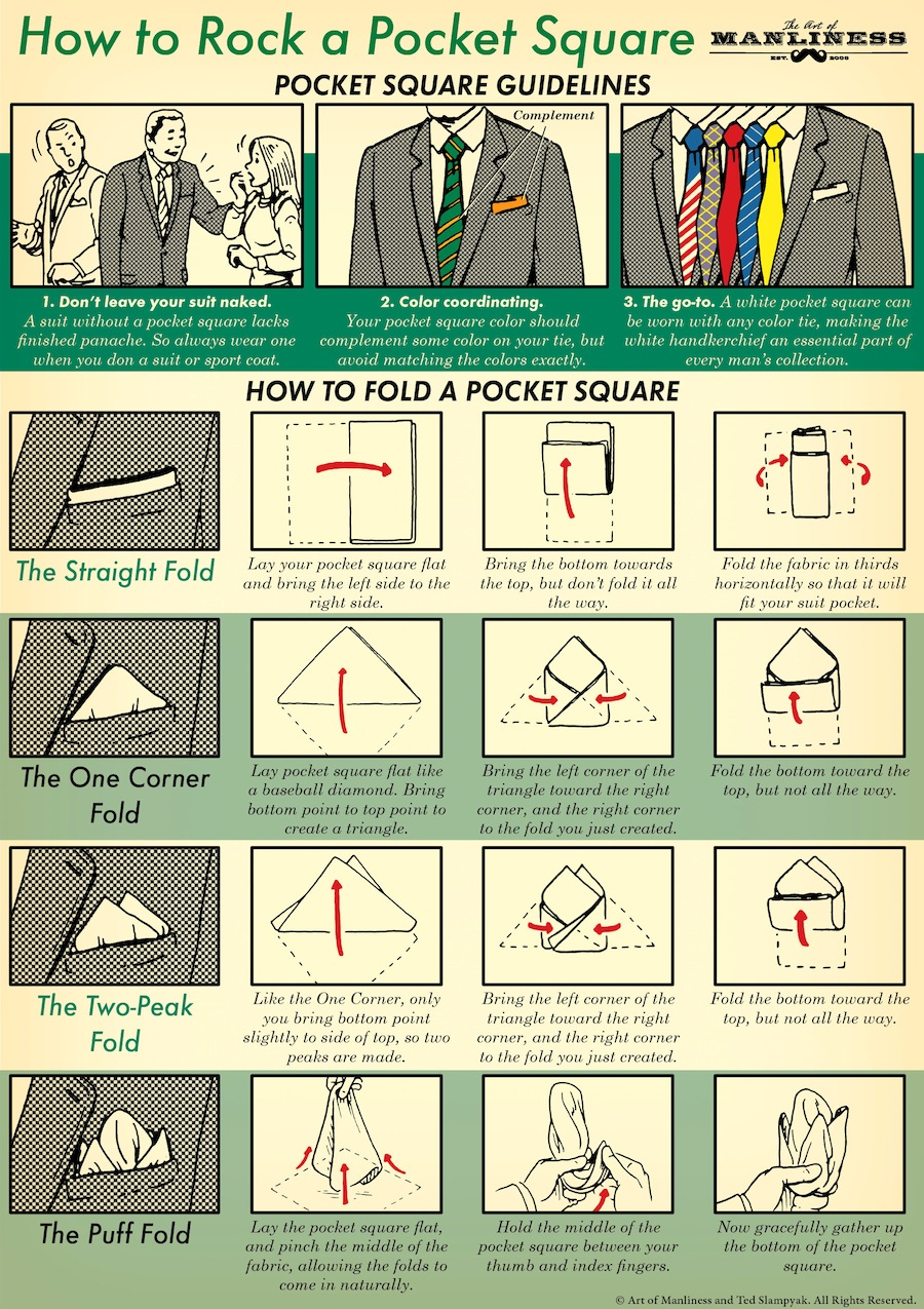 pocket square tips how to fold a pocket square illustration