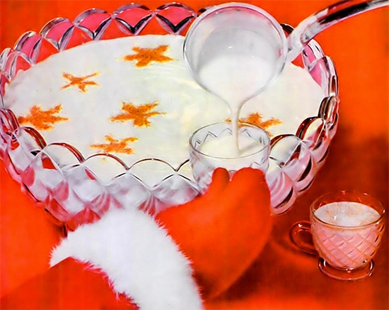 vintage painting pouring egg nog into glass