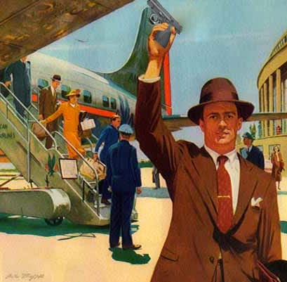 vintage painting man getting off airplane gun in hand