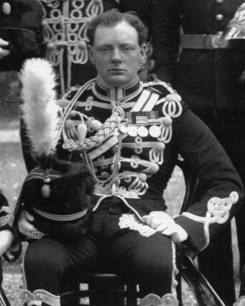 Young Winston Churchill hussars wearing uniform.