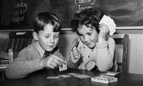 Vintage kids playing cards on Table.
