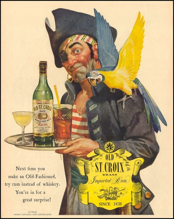 Vintage rum poster old St Croix old fashioned.
