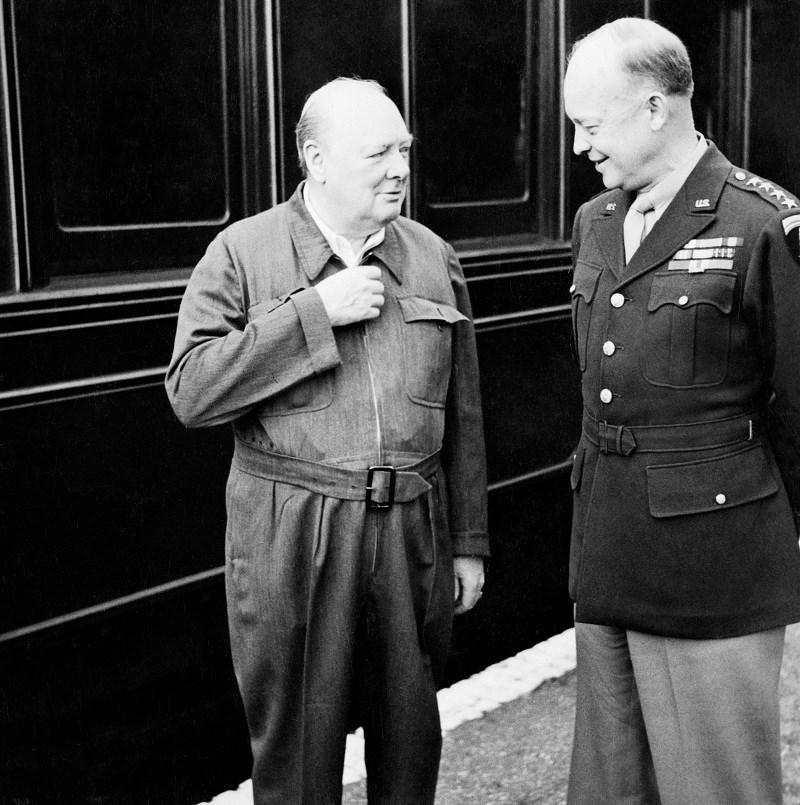 Winston Churchill Dwight Ike Eisenhower talking.