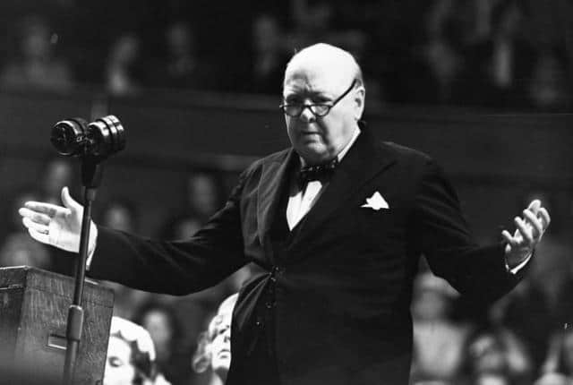 Winston Churchill giving speech.