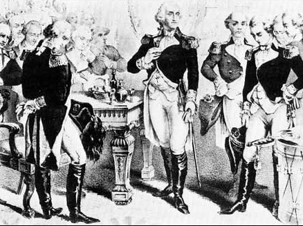 george washington drinking rum with comrades