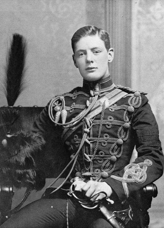 Young Winston Churchill in uniform.