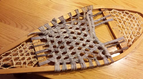 Newly-laced footbed. It will lighten and shrink as it dries.