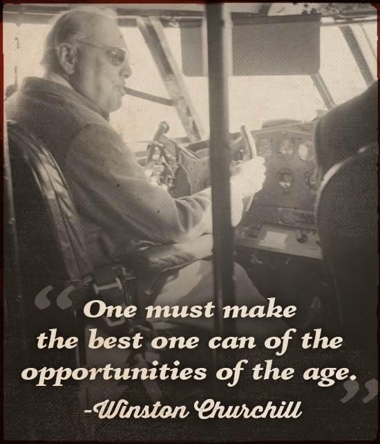 Quote by Winston Churchill Sittng in the Airplane.