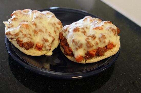 spam pizza burgers english muffins mozzarella cheese