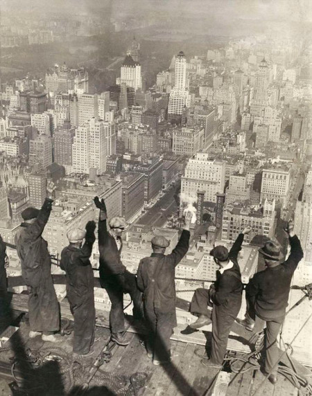 vintage steel workers new york skyscraper waving