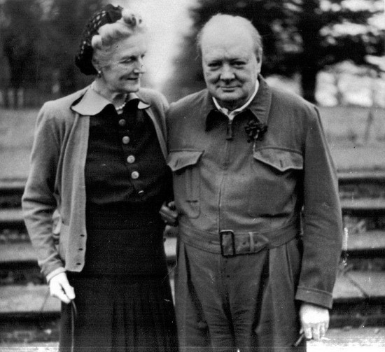 winston and clementine churchill standing outside posing