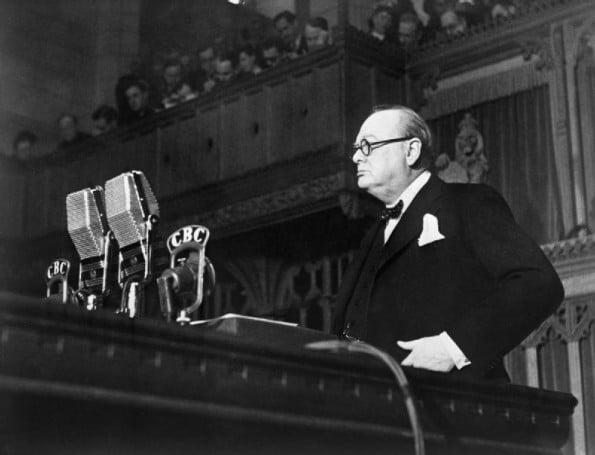 Churchill Delivering Speech.