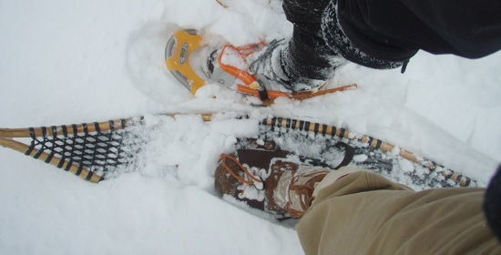 vintage old time snowshoes versus new modern snowshoes