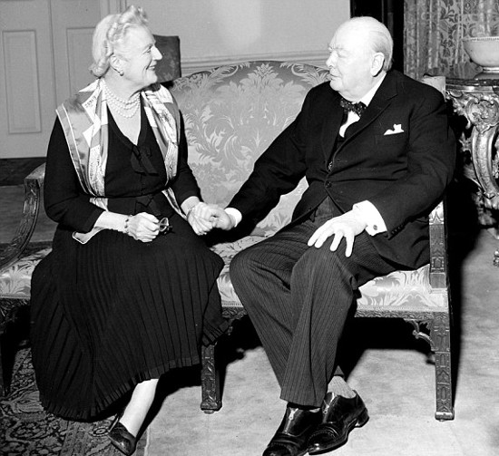 winston and clementine churchill sitting on small couch