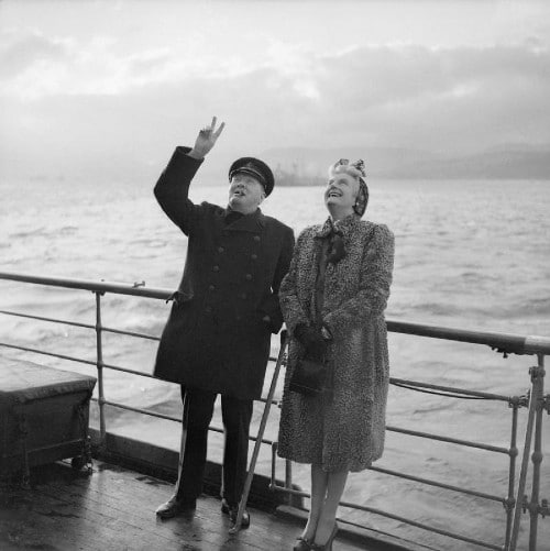 winston and clementine churchill on deck of boat