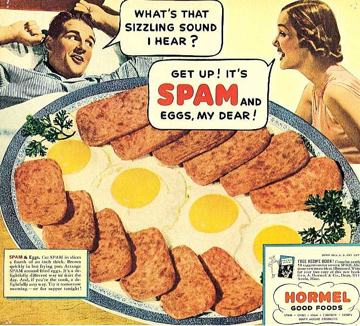 Vintage Spam ad advertisement spam and Eggs.