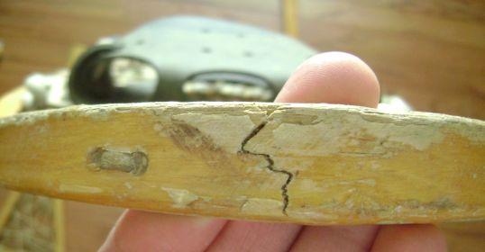 vintage snowshoes cracked frame