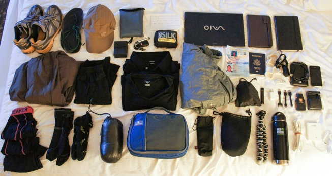 Supplies for backpacking around the world.