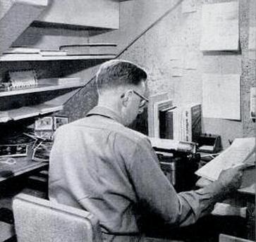 vintage man working at home office desk