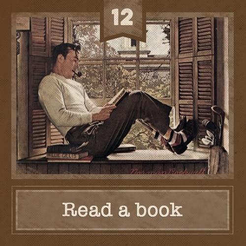 vintage man sitting in windowsill reading smoking pipe illustration
