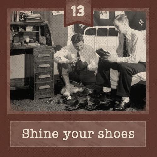 vintage college men in dorm room shining shoes