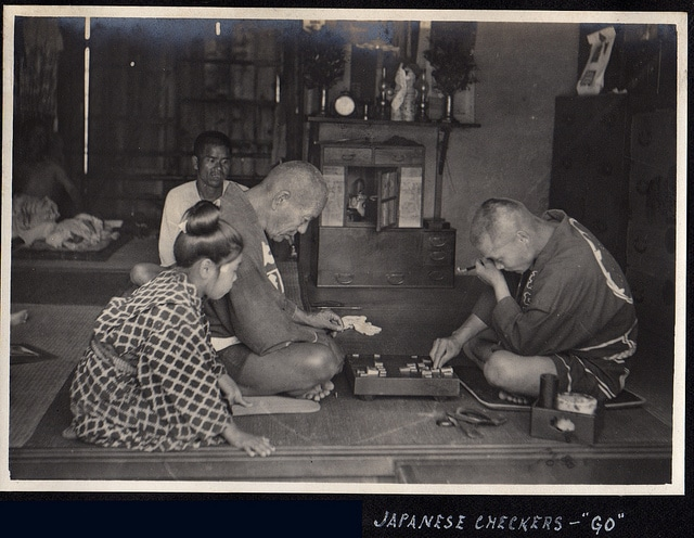 vintage japanese men playing checkers go