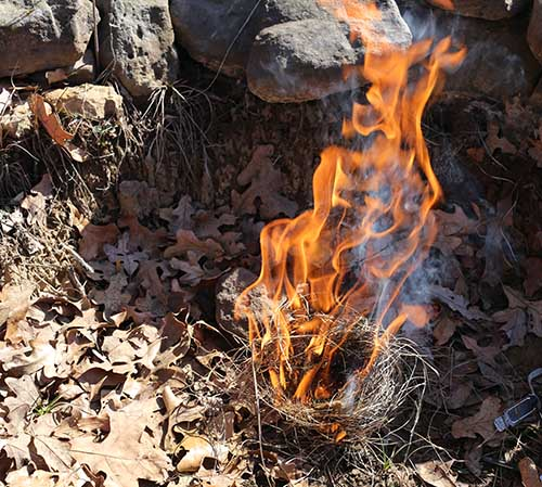 burning tinder bundle under a teepee of twigs