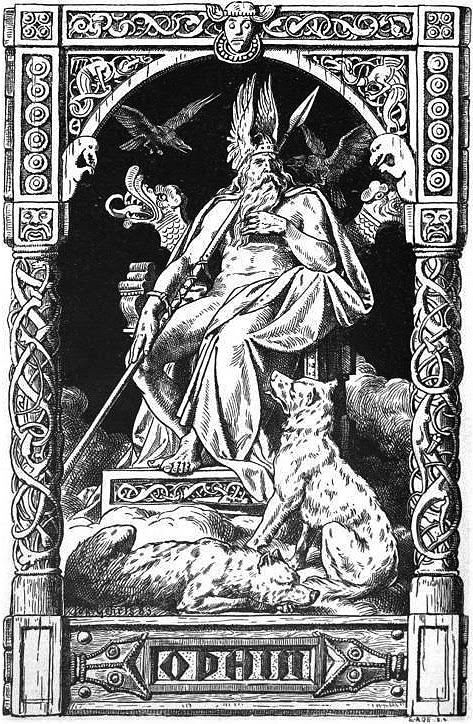 Odin norse god on throne dogs at feet.