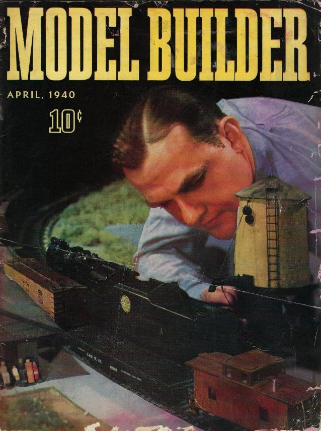 Model builder magazine cover april 1940 train track.