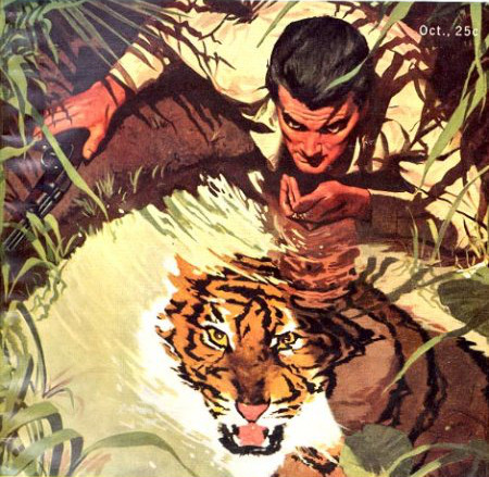 vintage illustration man drinking water from pond tiger reflection